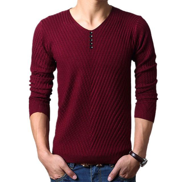 Men Henley Neck Smart Sweater / Men Casual everyday Smart Pullover-Burgundy-M-JadeMoghul Inc.