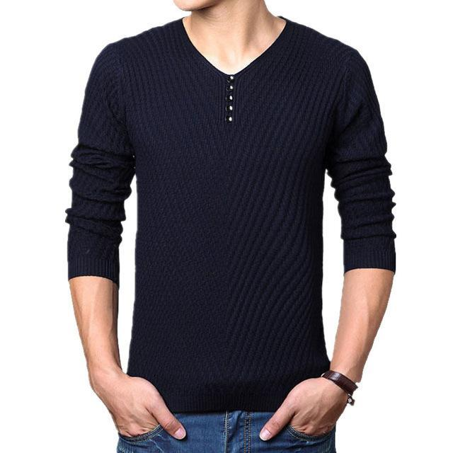 Men Henley Neck Smart Sweater / Men Casual everyday Smart Pullover-Navy-M-JadeMoghul Inc.