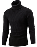 Men Hi-Neck Smart Fit Sweater / High Collar Solid Simple Slim Fit Knitted Sweaters-Black-M-JadeMoghul Inc.