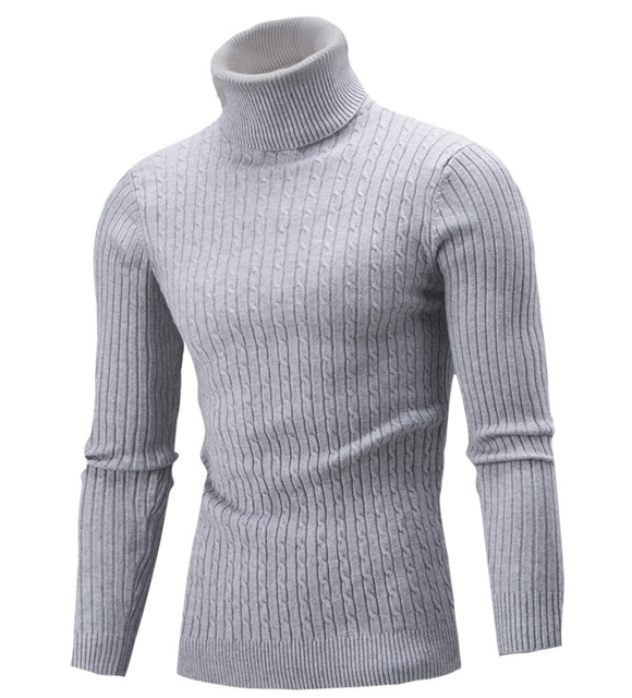 Men Hi-Neck Smart Fit Sweater / High Collar Solid Simple Slim Fit Knitted Sweaters-Grey-M-JadeMoghul Inc.