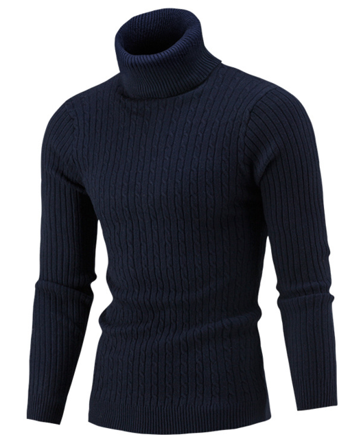 Men Hi-Neck Smart Fit Sweater / High Collar Solid Simple Slim Fit Knitted Sweaters-Navy-M-JadeMoghul Inc.