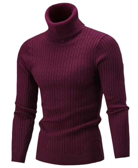 Men Hi-Neck Smart Fit Sweater / High Collar Solid Simple Slim Fit Knitted Sweaters-Red wine-M-JadeMoghul Inc.