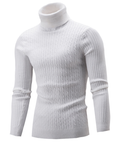Men Hi-Neck Smart Fit Sweater / High Collar Solid Simple Slim Fit Knitted Sweaters-White-M-JadeMoghul Inc.