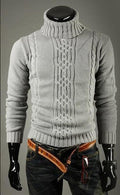 Men High Neck Slim Smart Sweater-Gray-XL-JadeMoghul Inc.