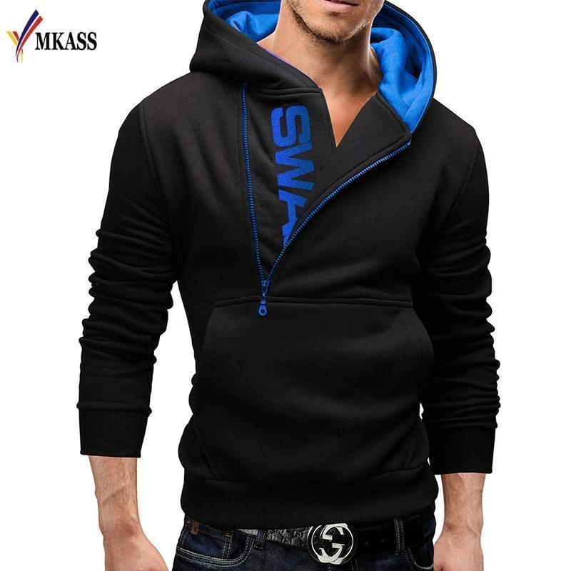 Men Hoodie Long Sleeve - Pullover Hooded Sweatshirt-Black Blue-4XL-JadeMoghul Inc.