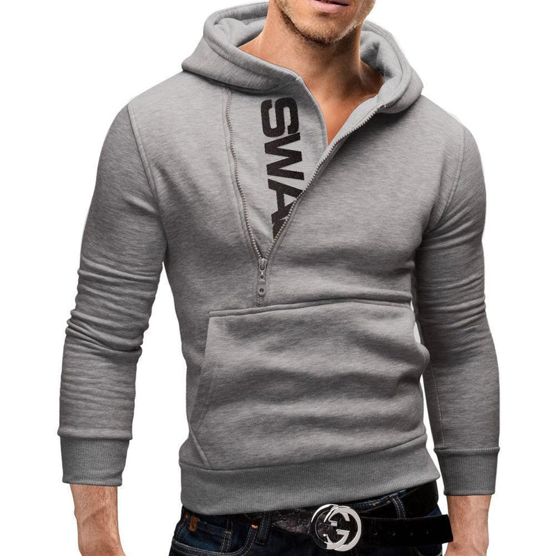 Men Hoodie Long Sleeve - Pullover Hooded Sweatshirt-Light Grey-4XL-JadeMoghul Inc.