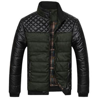 Men Jacket Patchwork Design / Fashionable Winter Outerwear-Amy Green-L-JadeMoghul Inc.