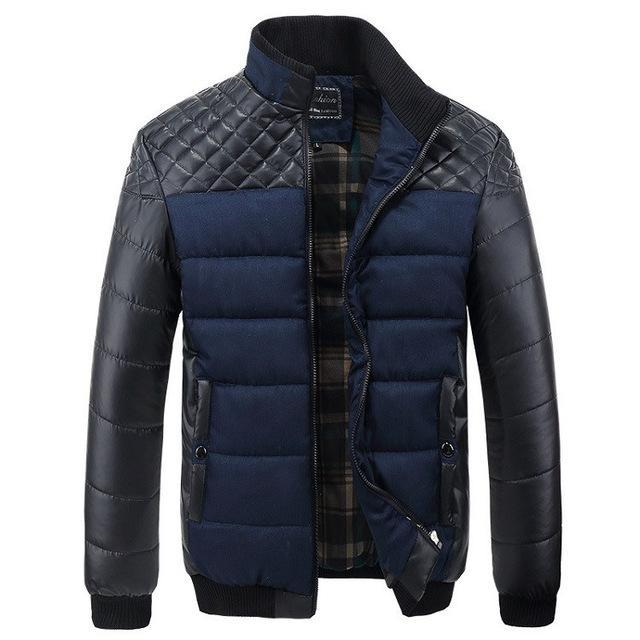 Men Jacket Patchwork Design / Fashionable Winter Outerwear-Blue-L-JadeMoghul Inc.