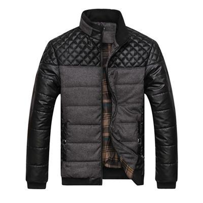 Men Jacket Patchwork Design / Fashionable Winter Outerwear-Grey-L-JadeMoghul Inc.