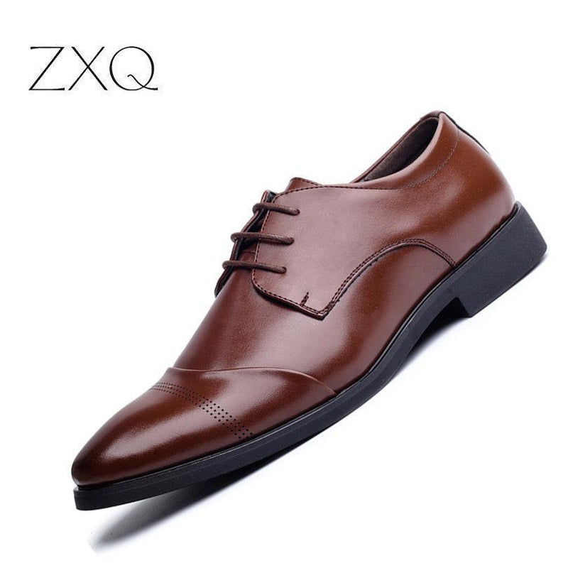 Men Leather Shoes / Pointed Toe Luxury Formal Business Shoes-Black-6-JadeMoghul Inc.