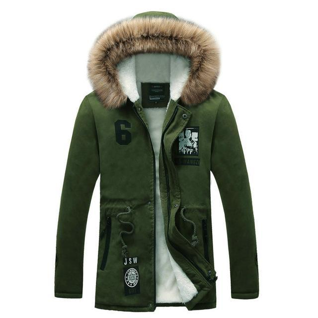 Men Long Casual Slim Fit Hooded Winter Jacket-M03green-S-JadeMoghul Inc.