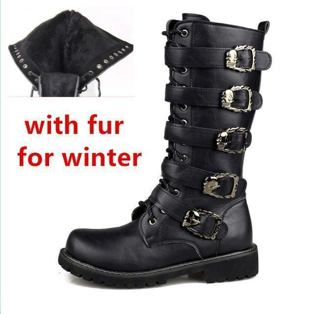 Men Military Leather Combat Metal Buckle Boots-black1 with fur-5-JadeMoghul Inc.