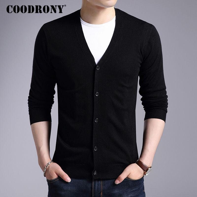 Men New Winter Warm Cashmere Wool Sweater / Classic V-Neck Cardigan-Black-S-JadeMoghul Inc.