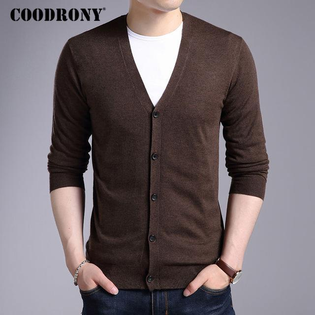 Men New Winter Warm Cashmere Wool Sweater / Classic V-Neck Cardigan-Coffee-S-JadeMoghul Inc.