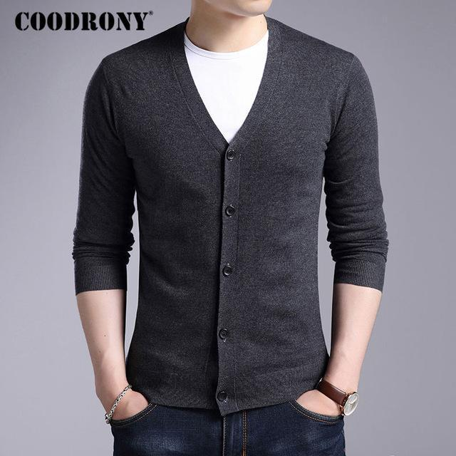 Men New Winter Warm Cashmere Wool Sweater / Classic V-Neck Cardigan-Gray-S-JadeMoghul Inc.