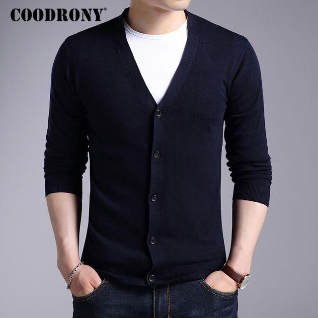 Men New Winter Warm Cashmere Wool Sweater / Classic V-Neck Cardigan-Navy-S-JadeMoghul Inc.