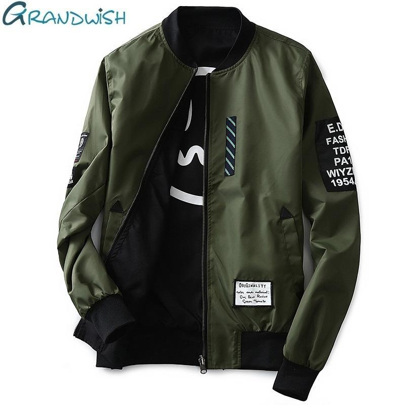 Men Pilot Jacket With Patches Both Sides / Thin Pilot Bomber Jacket-Army Green-M-JadeMoghul Inc.