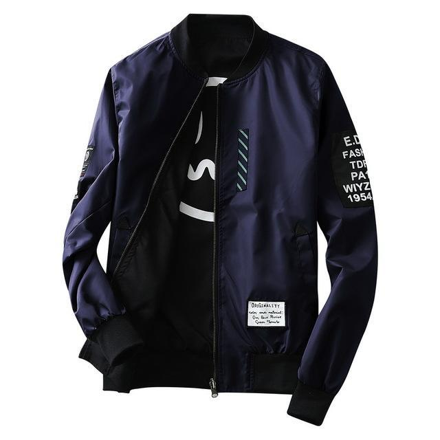 Men Pilot Jacket With Patches Both Sides / Thin Pilot Bomber Jacket-Navy-M-JadeMoghul Inc.