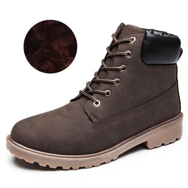 Men PU Leather Stylish Work Shoes-brown Plush-11-JadeMoghul Inc.