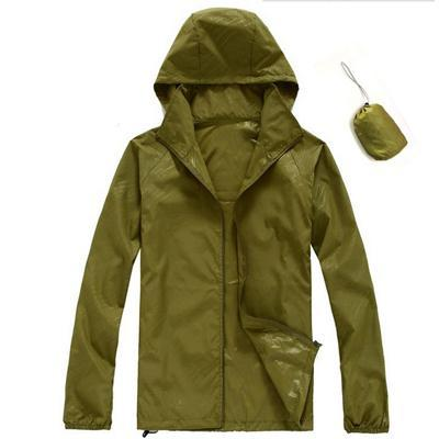 Men Quick Dry Skin Jacket / Ultra-Light Casual Windbreaker / Waterproof Clothing-Army Green-XS-JadeMoghul Inc.