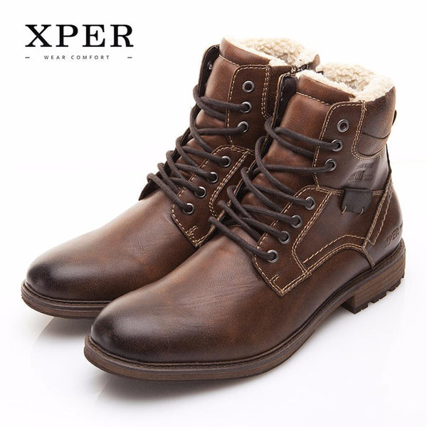 Men Shoes XPER Brand Autumn Winter Motorcycle Men Boots High-Cut Lace-up Warm Men Casual Shoes Fashion #XHY12509BR-BROWN-7-China-JadeMoghul Inc.
