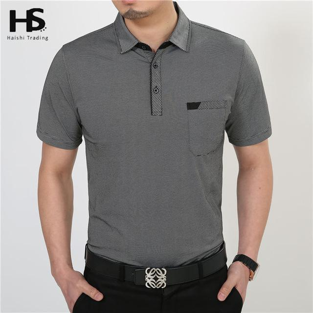 Men Short Sleeve Cotton T-Shirt With Pocket-Dark Grey-S-JadeMoghul Inc.