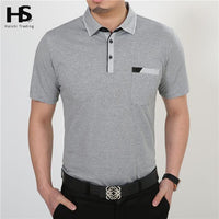 Men Short Sleeve Cotton T-Shirt With Pocket-Grey-S-JadeMoghul Inc.