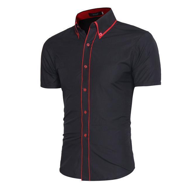 Men Short-Sleeves Fashionable Design Slim Fit Dress Shirt-Black-Asia XL 175CM 75KG-JadeMoghul Inc.