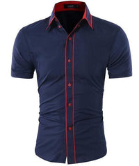 Men Short-Sleeves Fashionable Design Slim Fit Dress Shirt-Blue-Asia XL 175CM 75KG-JadeMoghul Inc.
