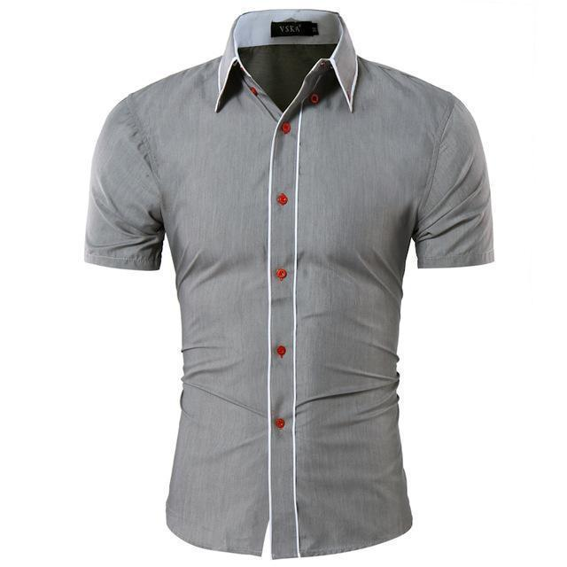 Men Short-Sleeves Fashionable Design Slim Fit Dress Shirt-Grey-Asia XL 175CM 75KG-JadeMoghul Inc.