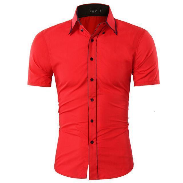 Men Short-Sleeves Fashionable Design Slim Fit Dress Shirt-Red-Asia XL 175CM 75KG-JadeMoghul Inc.