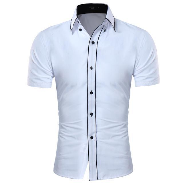 Men Short-Sleeves Fashionable Design Slim Fit Dress Shirt-White-Asia XL 175CM 75KG-JadeMoghul Inc.