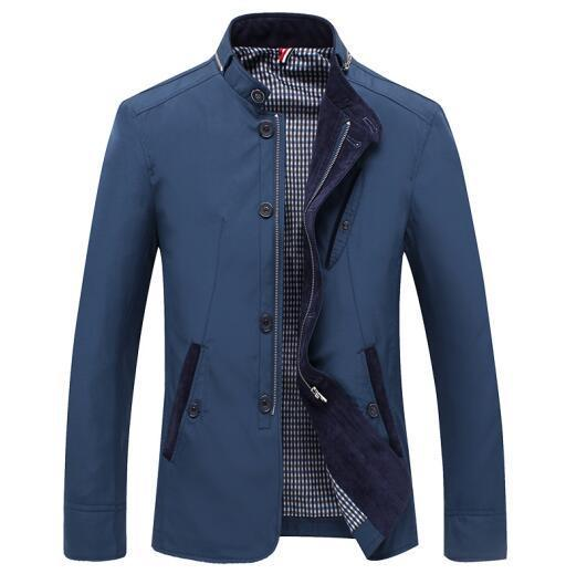 Men Slim Fit Thin Stand Button Male Casual Jacket-Blue-L-JadeMoghul Inc.