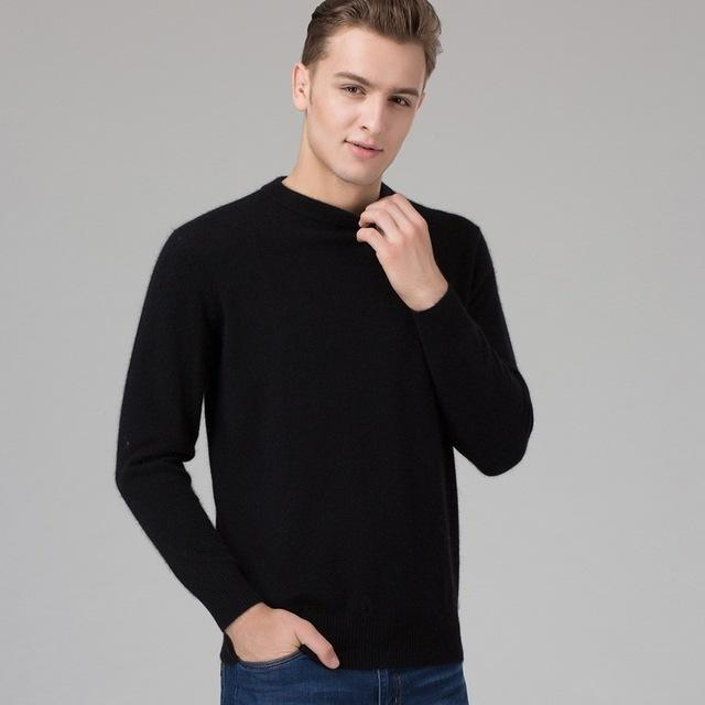 Men Smart Jumper / Cashmere Blend Knitted Sweater / O-Neck Long Sleeve Warm Pullover-black-S-JadeMoghul Inc.