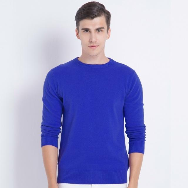 Men Smart Jumper / Cashmere Blend Knitted Sweater / O-Neck Long Sleeve Warm Pullover-blue1-S-JadeMoghul Inc.