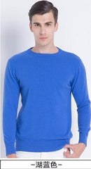 Men Smart Jumper / Cashmere Blend Knitted Sweater / O-Neck Long Sleeve Warm Pullover-blue2-S-JadeMoghul Inc.