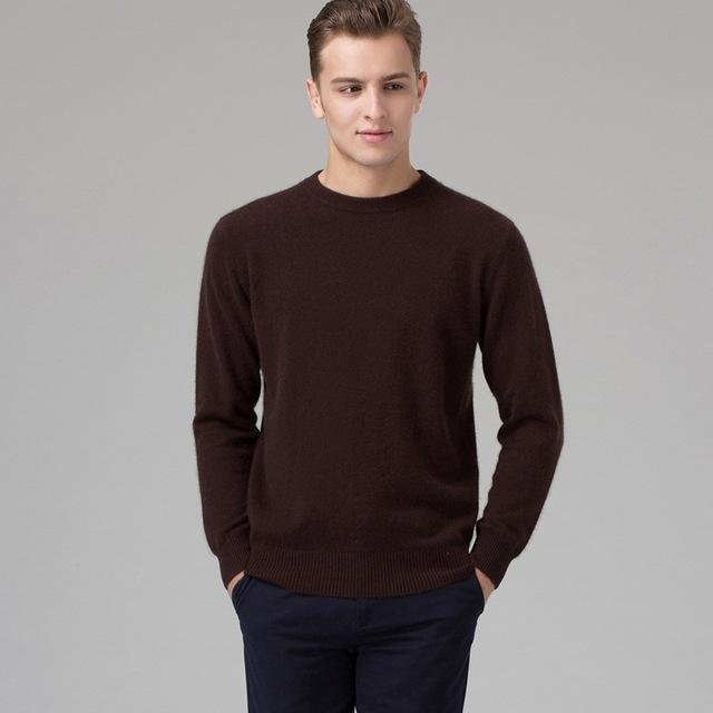 Men Smart Jumper / Cashmere Blend Knitted Sweater / O-Neck Long Sleeve Warm Pullover-coffee-S-JadeMoghul Inc.