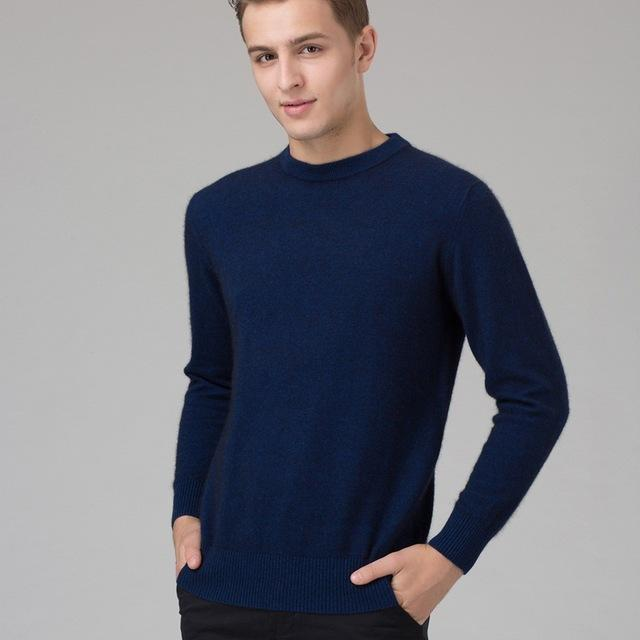 Men Smart Jumper / Cashmere Blend Knitted Sweater / O-Neck Long Sleeve Warm Pullover-dark blue2-S-JadeMoghul Inc.