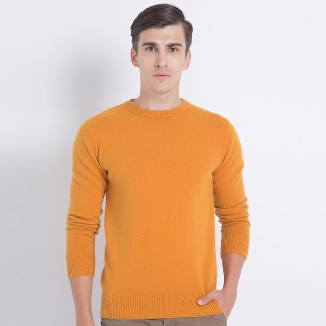 Men Smart Jumper / Cashmere Blend Knitted Sweater / O-Neck Long Sleeve Warm Pullover-dark yellow-S-JadeMoghul Inc.