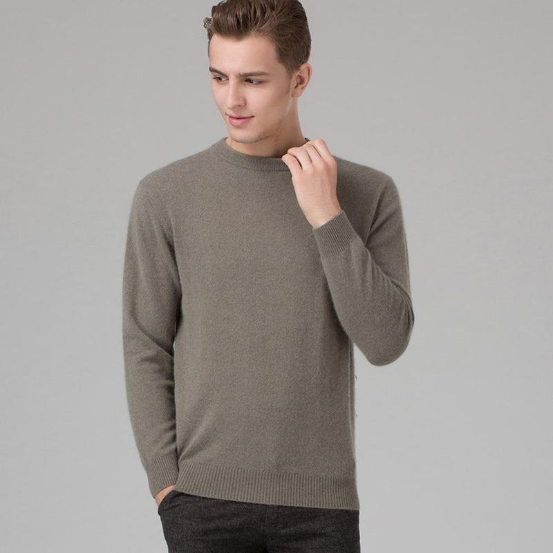 Men Smart Jumper / Cashmere Blend Knitted Sweater / O-Neck Long Sleeve Warm Pullover-grey-S-JadeMoghul Inc.
