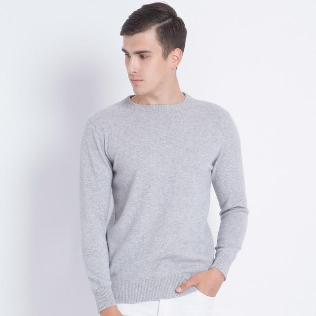 Men Smart Jumper / Cashmere Blend Knitted Sweater / O-Neck Long Sleeve Warm Pullover-light grey-S-JadeMoghul Inc.