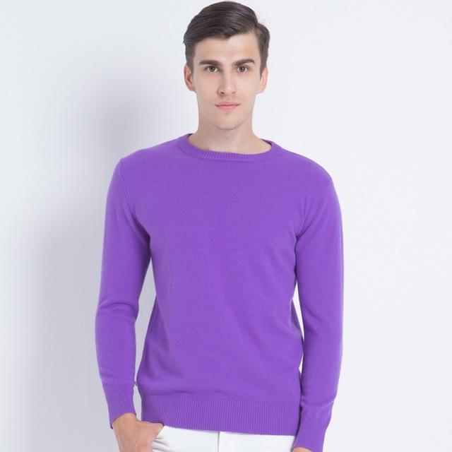 Men Smart Jumper / Cashmere Blend Knitted Sweater / O-Neck Long Sleeve Warm Pullover-purple-S-JadeMoghul Inc.