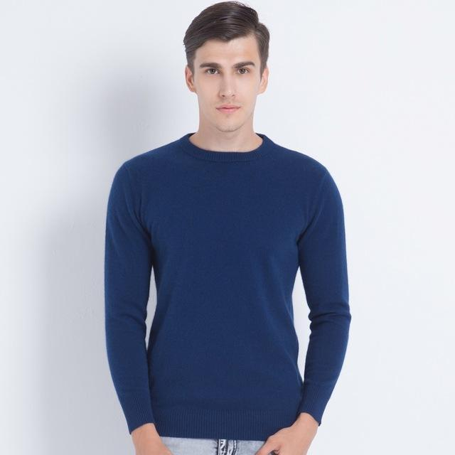 Men Smart Jumper / Cashmere Blend Knitted Sweater / O-Neck Long Sleeve Warm Pullover-sea dark blue-S-JadeMoghul Inc.