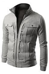 Men Smart Sweatshirt / Jacket For Winter-Light grey-L-JadeMoghul Inc.