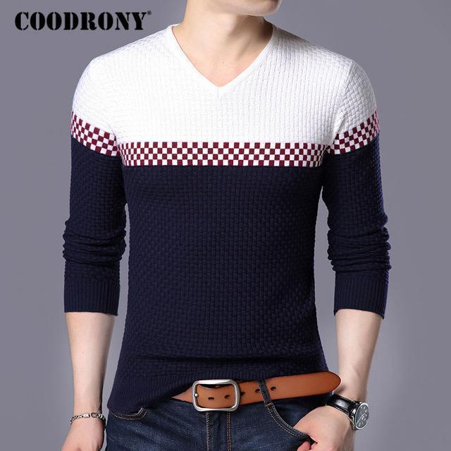 Men Smart Wool Sweaters / Warm V-Neck Pullover / Slim Fit Cotton Sweater-Navy-S-JadeMoghul Inc.