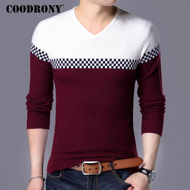 Men Smart Wool Sweaters / Warm V-Neck Pullover / Slim Fit Cotton Sweater-Wine-S-JadeMoghul Inc.