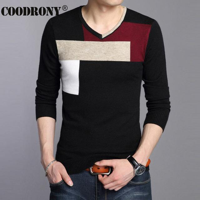 Men Soft Warm Knitted Sweater / Men Casual V-Neck Pullover-Black-S-JadeMoghul Inc.