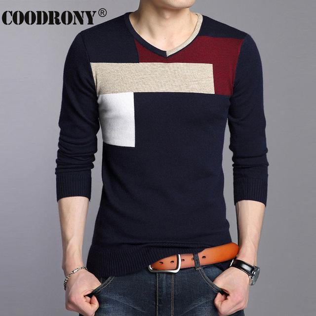 Men Soft Warm Knitted Sweater / Men Casual V-Neck Pullover-Navy-S-JadeMoghul Inc.