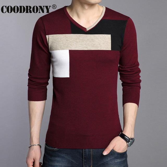 Men Soft Warm Knitted Sweater / Men Casual V-Neck Pullover-Red-S-JadeMoghul Inc.