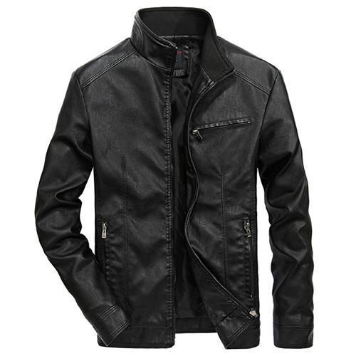 Men Solid Casual Biker Leather Jacket - Pilot Jacket-Black-XXL-JadeMoghul Inc.